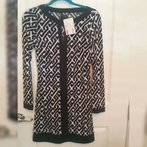 INC Blue and White Patterned Dress - Size XS